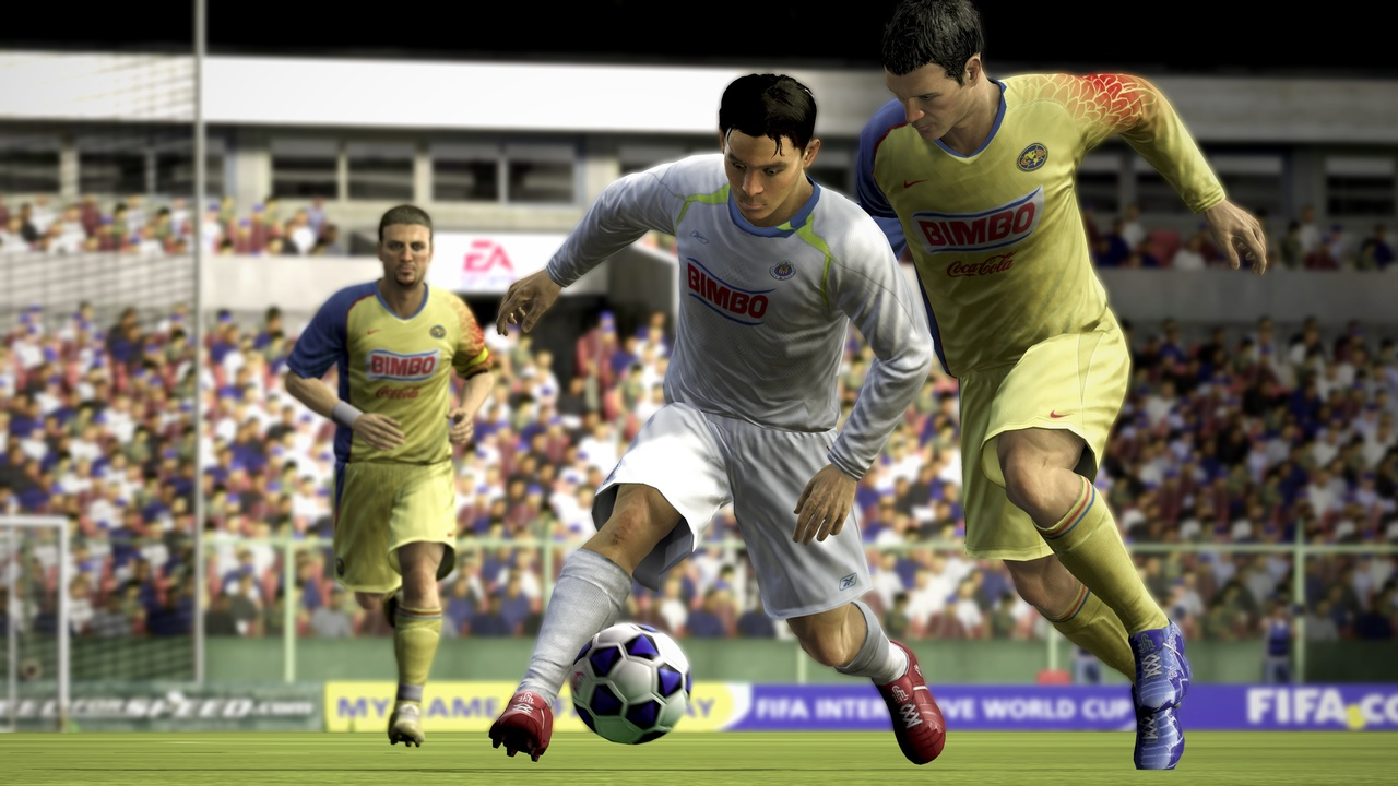Master the new skills in FIFA 08 and you can take on two players with ease.