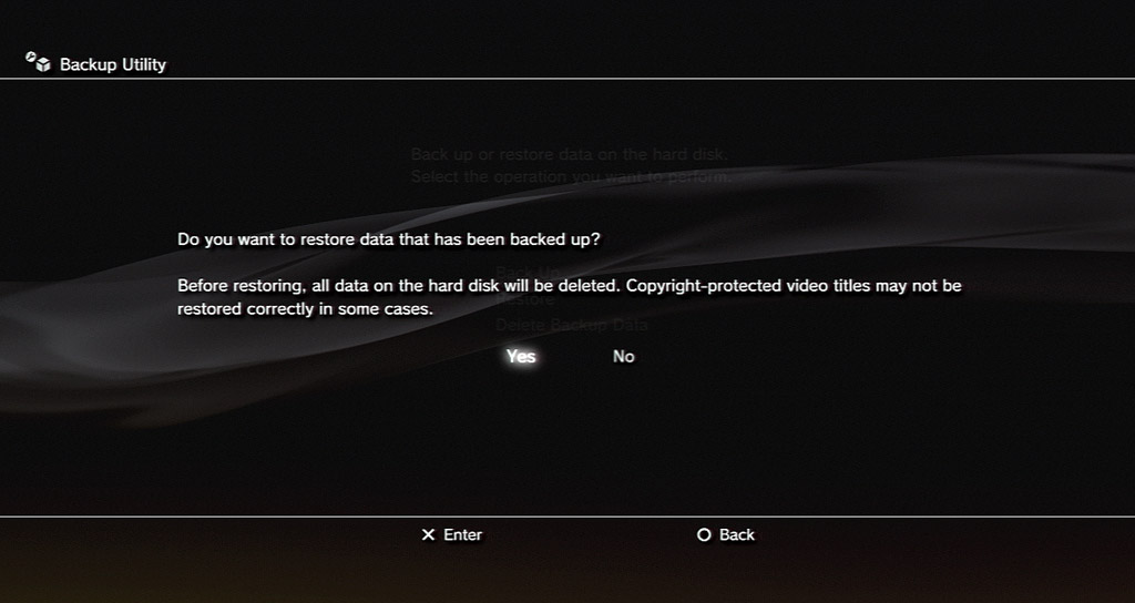 Turn on the console and let the system format the new drive. Then load up the PS3 backup utility to restore data from your external storage device back onto the PS3 hard drive.