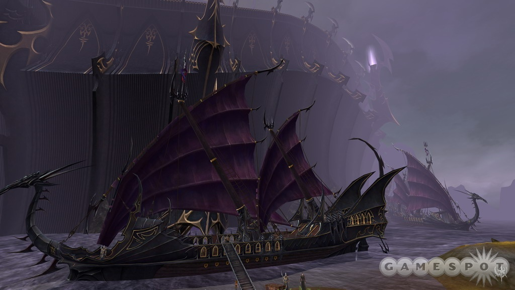 This is a dark-elf warship, and that gigantic thing behind it is one of the dreaded black arks.