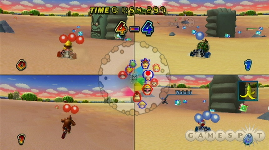 Four player split-screen can get wild and crazy, especially in the battle mode arenas.