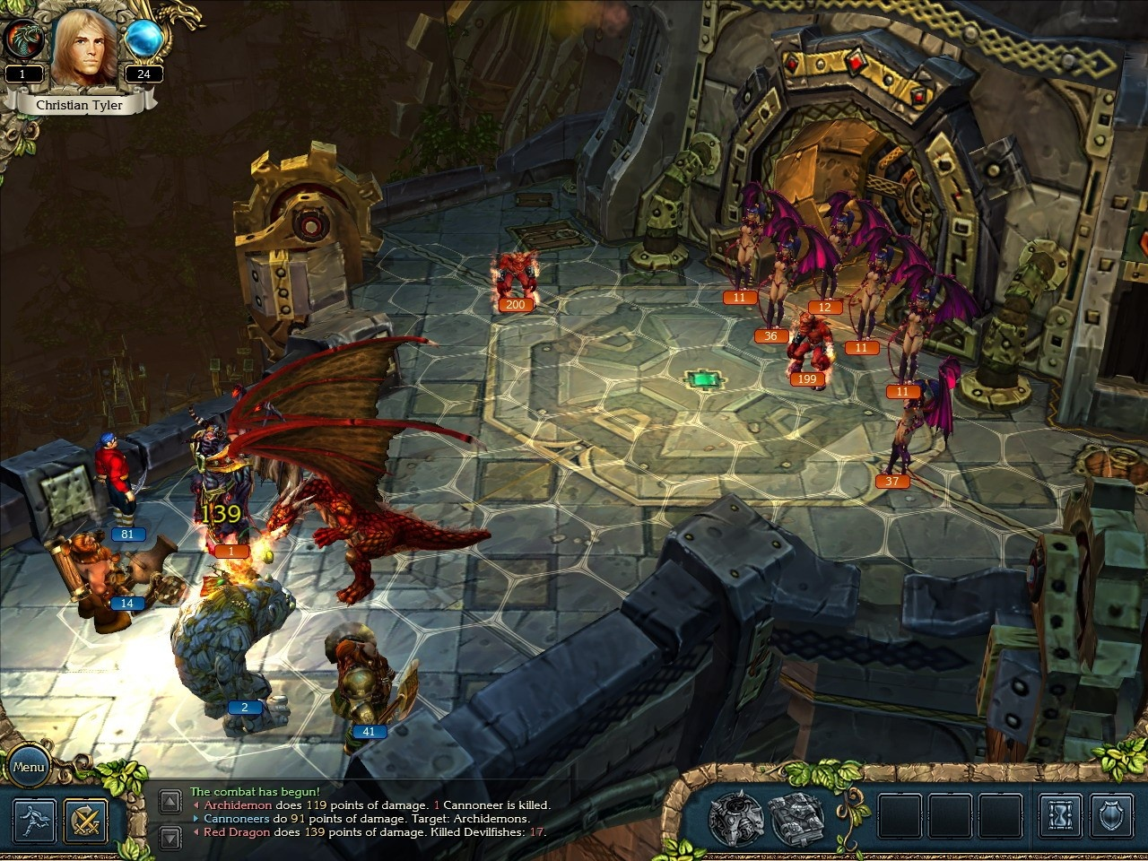 Combat in King's Bounty is turn-based and fraught with dragons.