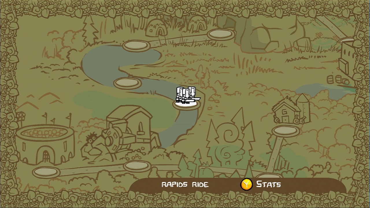 The overworld map is where you travel to your next level, a store, or your possible demise in the arena.