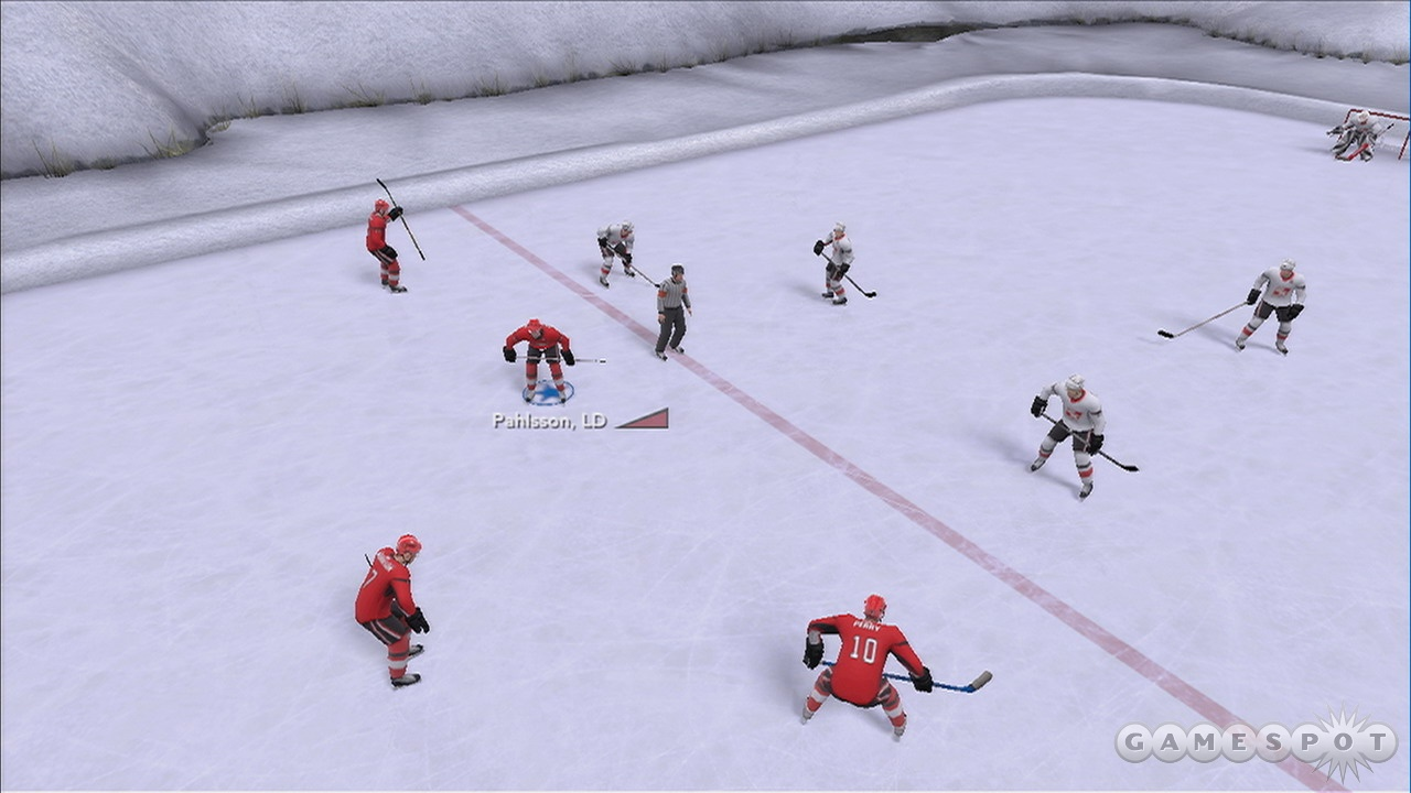 Pond hockey plays a lot like regular hockey, except there are less people and the Plexiglas is invisible.