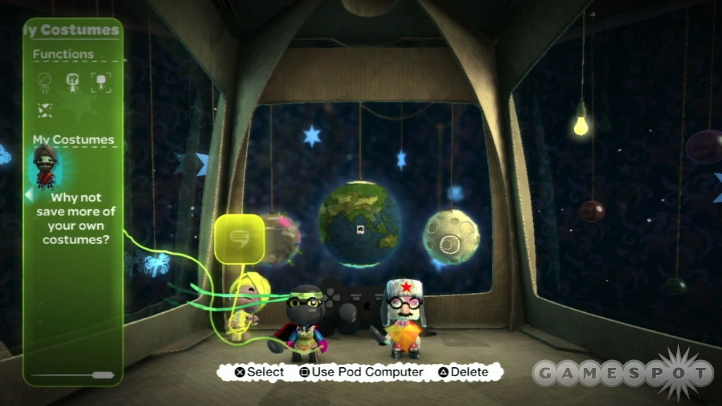 This is the pod, your window on the world of Little Big Planet. Like everything else in the game, it's customisable.