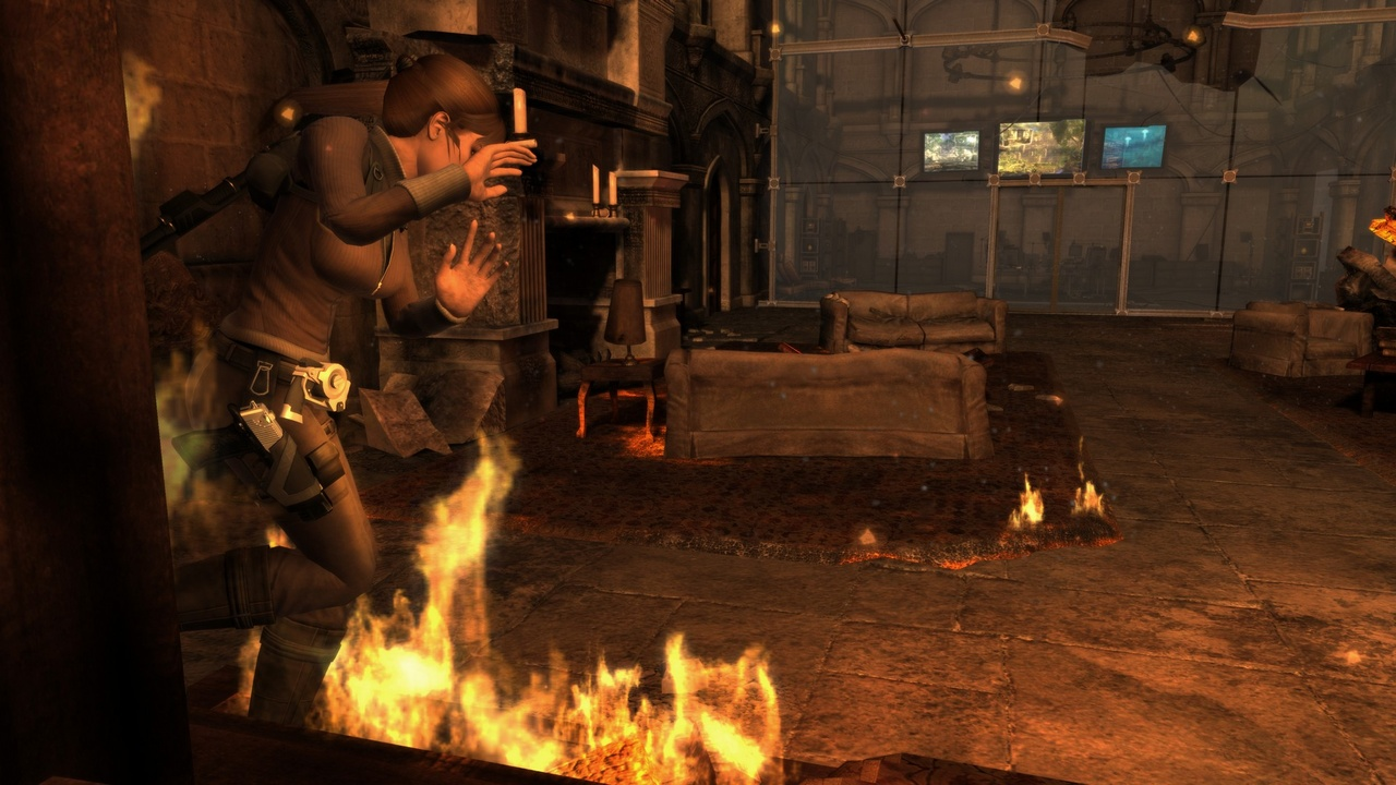 The adventure begins with a prologue set halfway through the game, with Croft Mansion burning to the ground and Lara seemingly to blame.