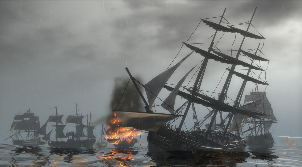 Setting an enemy ship on fire will quickly demoralize its crew.