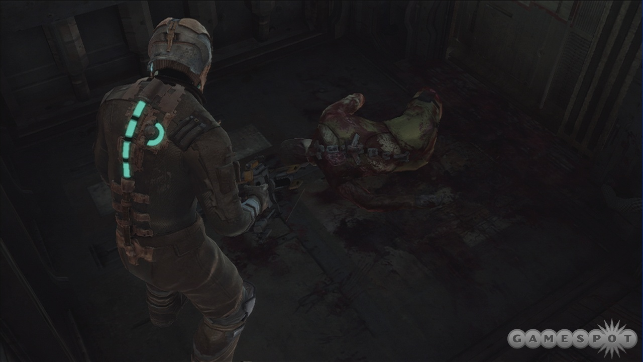 Having all the traditional HUD elements built into your suit makes grisly scenes like this that much more immersive.