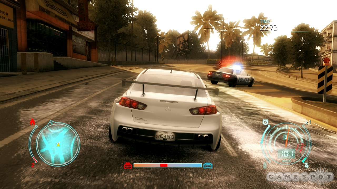 You might not want to crash into a cop car in real life, but here, it's all good.