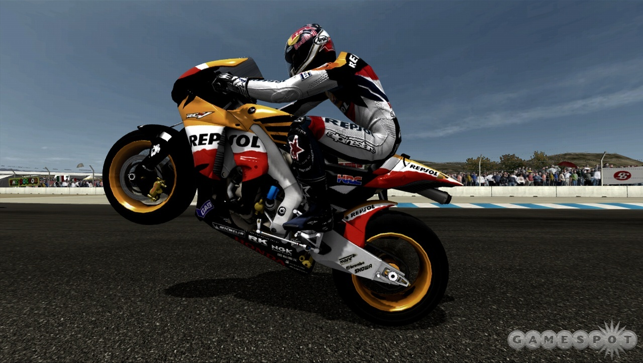Hard-charging AI, three different handling settings, and multiple weather options are combined for a true test of skill in MotoGP 08.