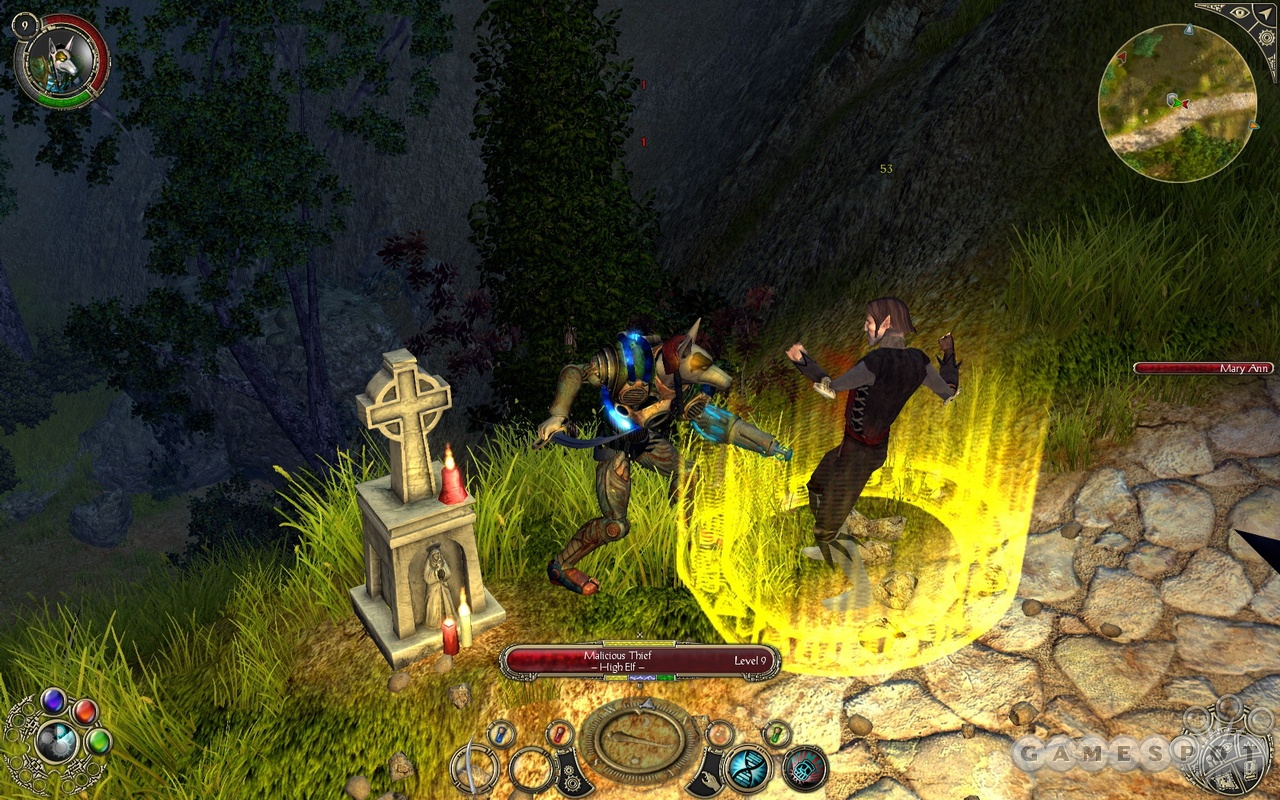 Extra details that flesh out the gameworld can be found everywhere, like this candle-lit roadside shrine that forms the perfect backdrop for a midnight duel with an elven thief.