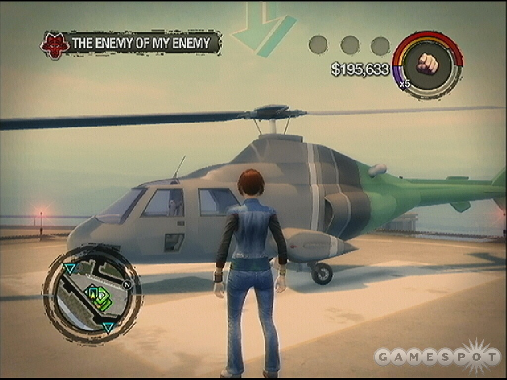 Here's a way to get on board the cargo ship: take the helicopter on top of the Hotel penthouse.