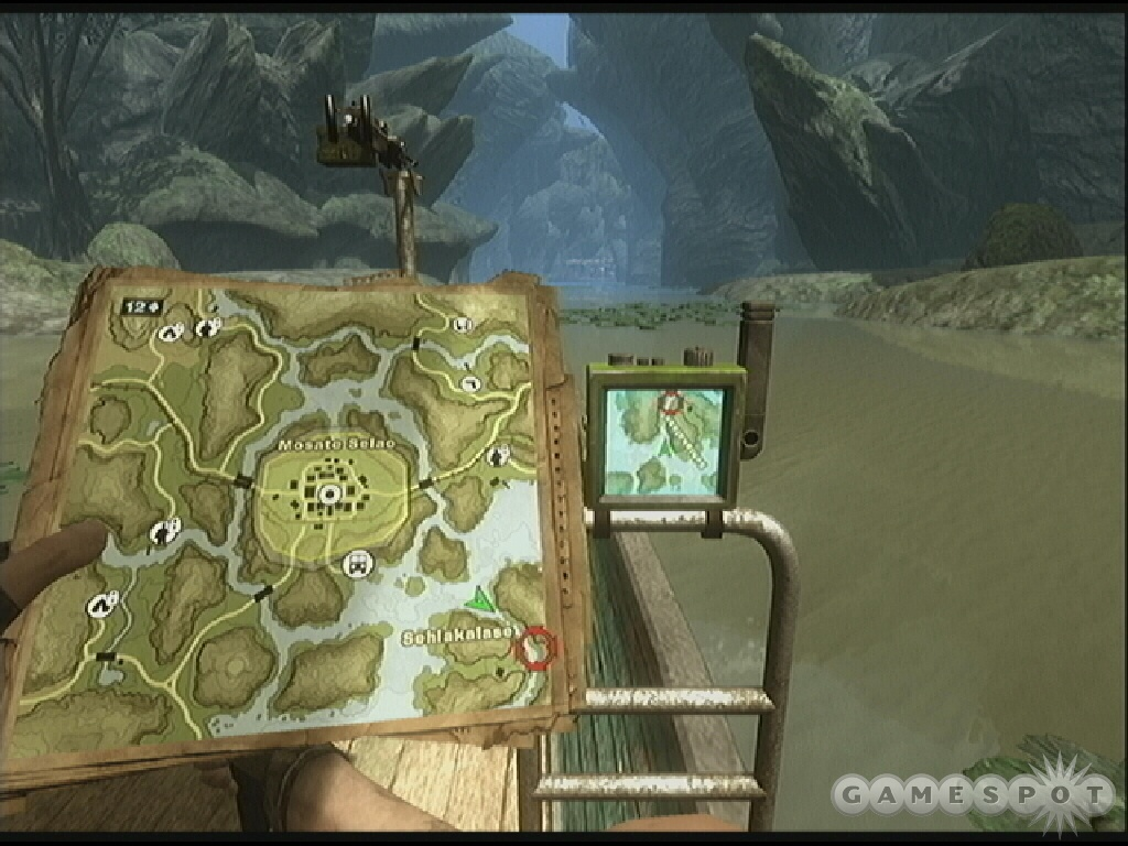 Take a boat to the barge; check your map as you drive for the best route to the marked location.