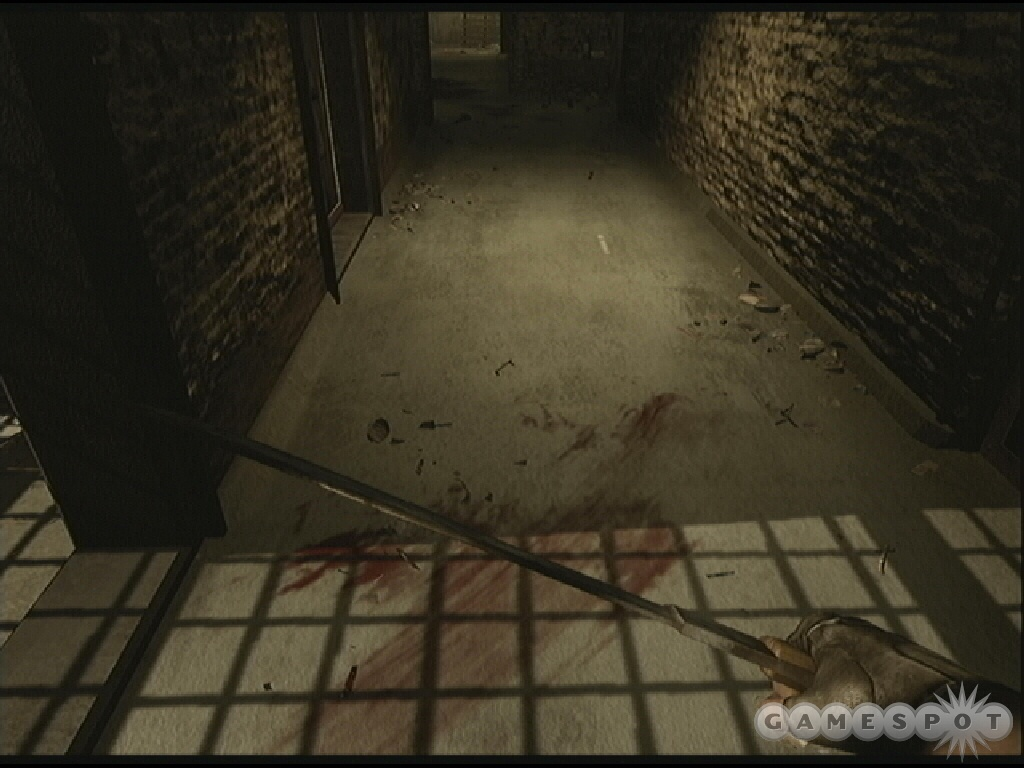 You can escape or take the time to help your buddy. Follow the bloody marks on the floor to locate your pal.