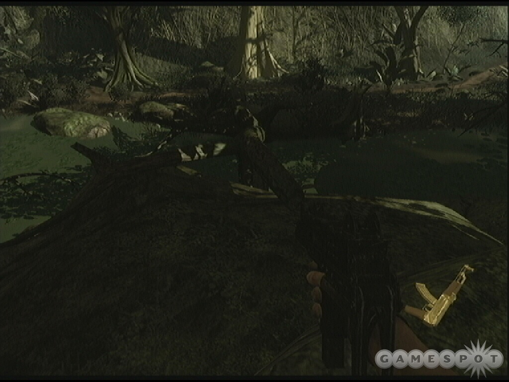 As you make your way toward the swamp, find this hidden golden AK-47.
