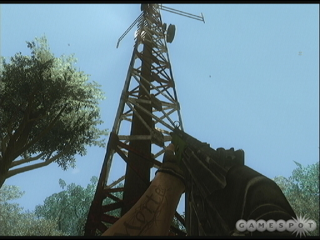 Walk to the base of a cellular tower and interact to activate an assassination mission.