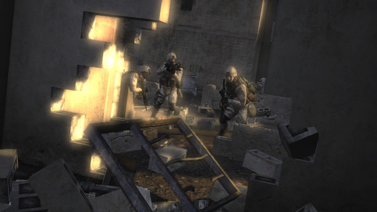 The game engine has been designed to put a focus on destructible environments.