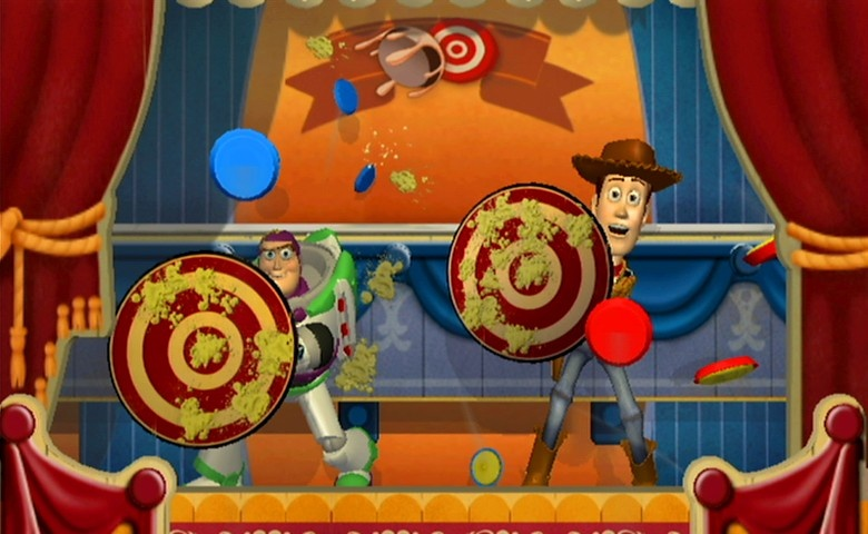 Try to hit Woody and Buzz with pies.