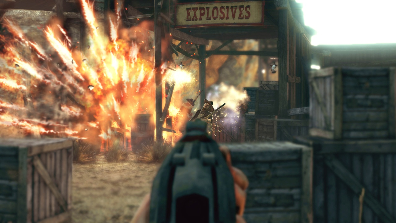 There's plenty of action--and explosions--in Bound in Blood.