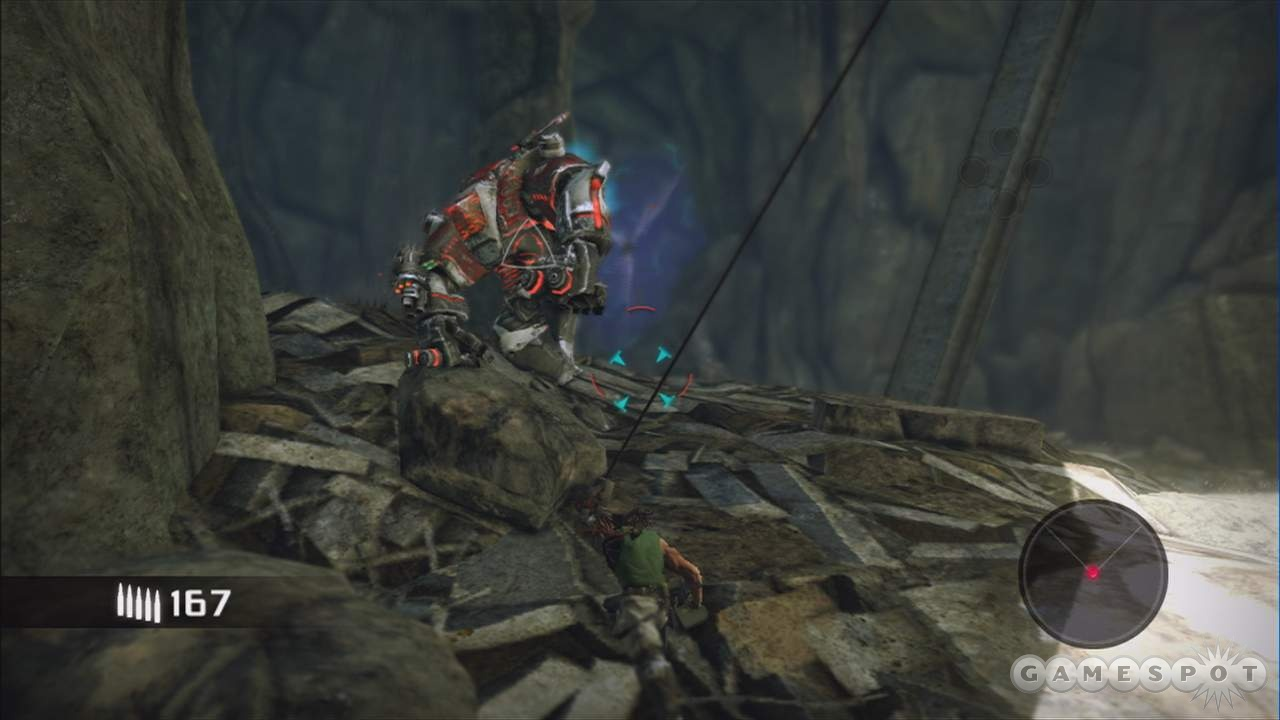 Your pea shooter may not do much damage to this mechanical ogre, but a boulder certainly will.