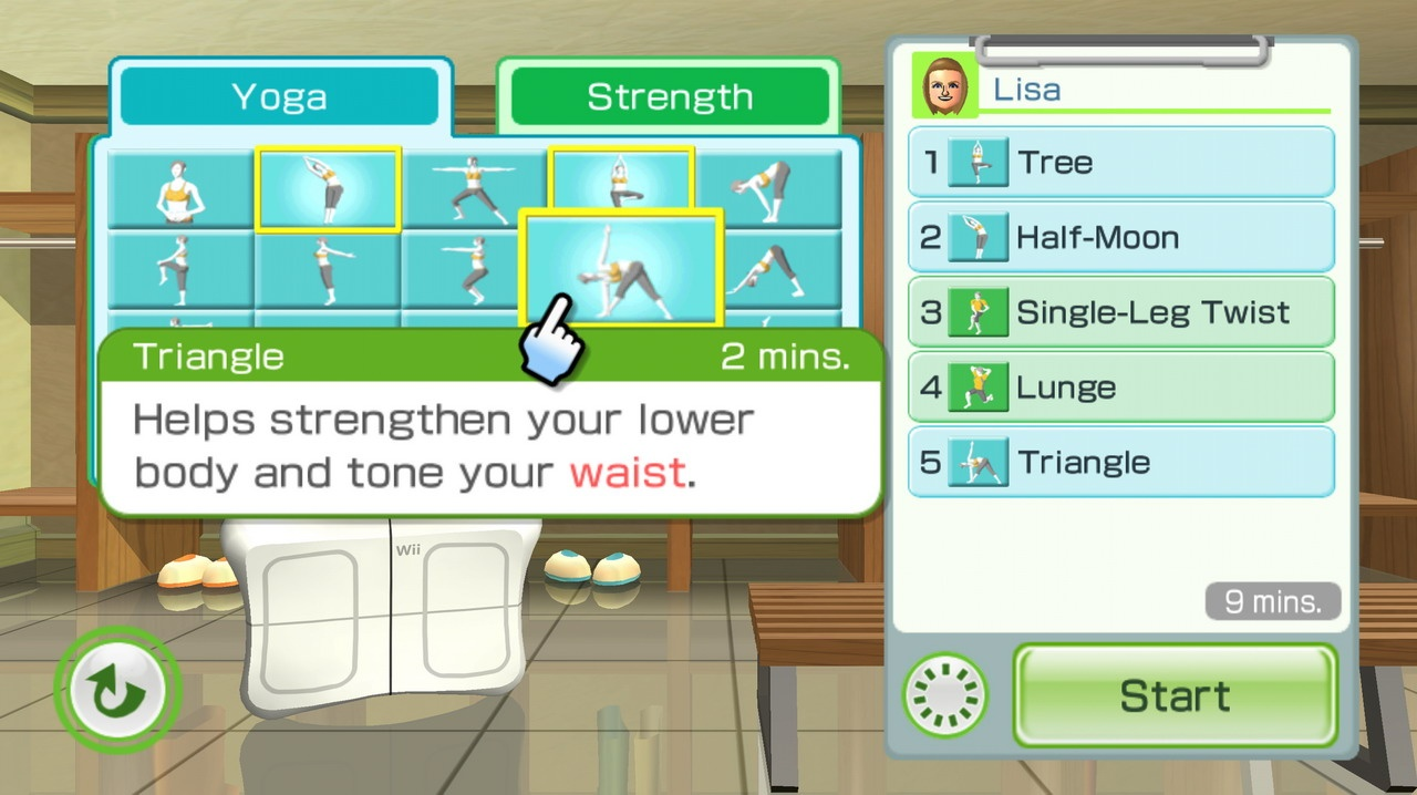 You can now set your own workout routine in Wii Fit Plus.