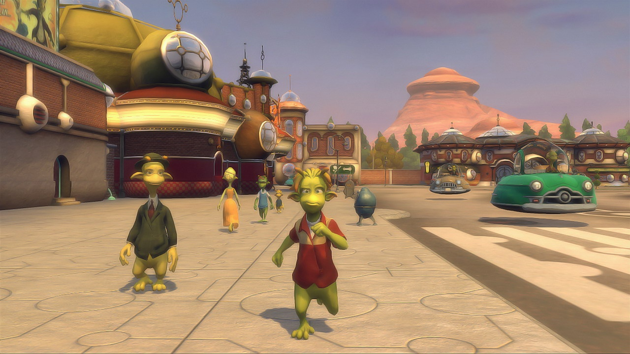 The world of Planet 51 is bright, bustling, and inviting.