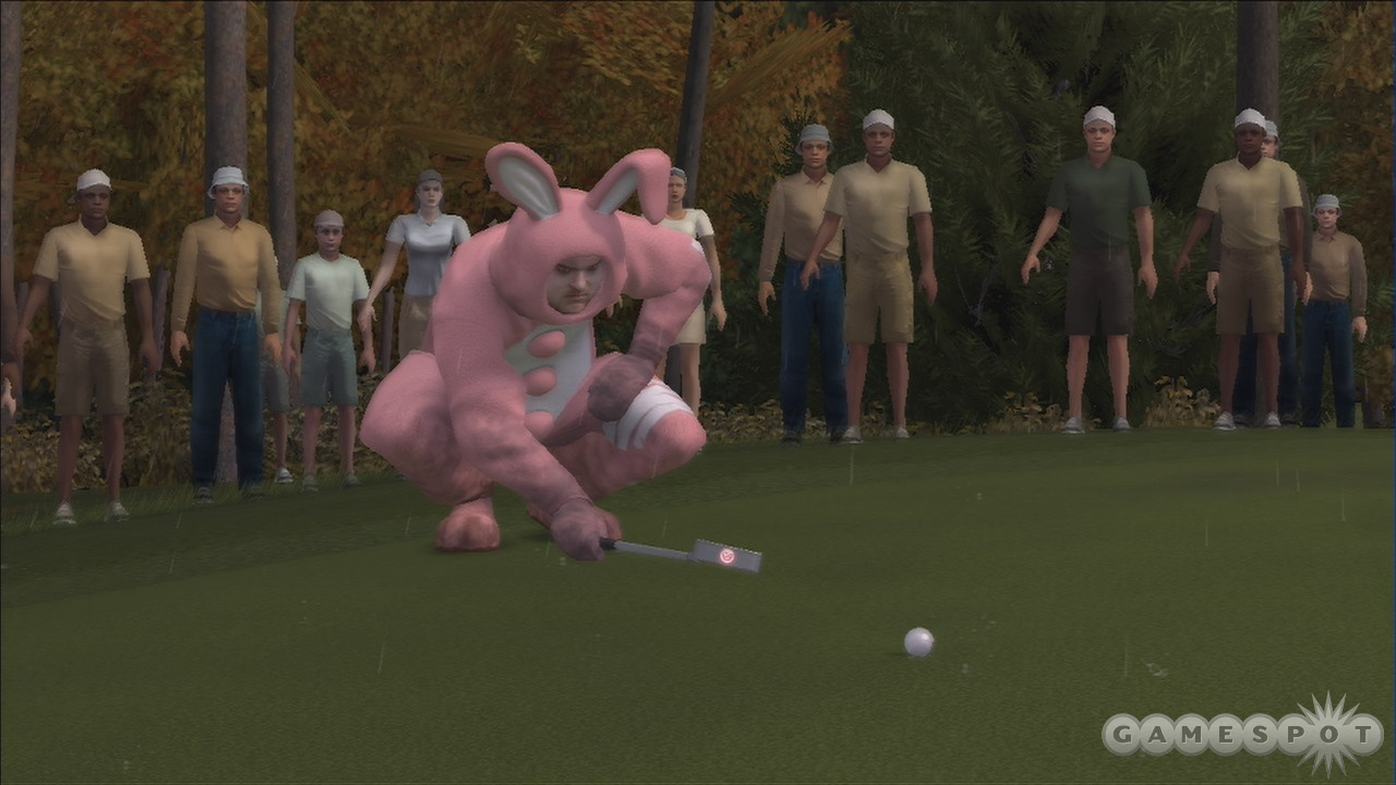 Should a guy in a bunny suit really be taking his putts so seriously?