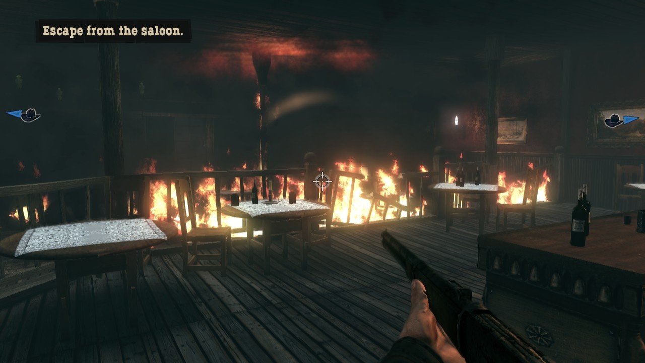 The saloon's on fire! Time for a getaway.