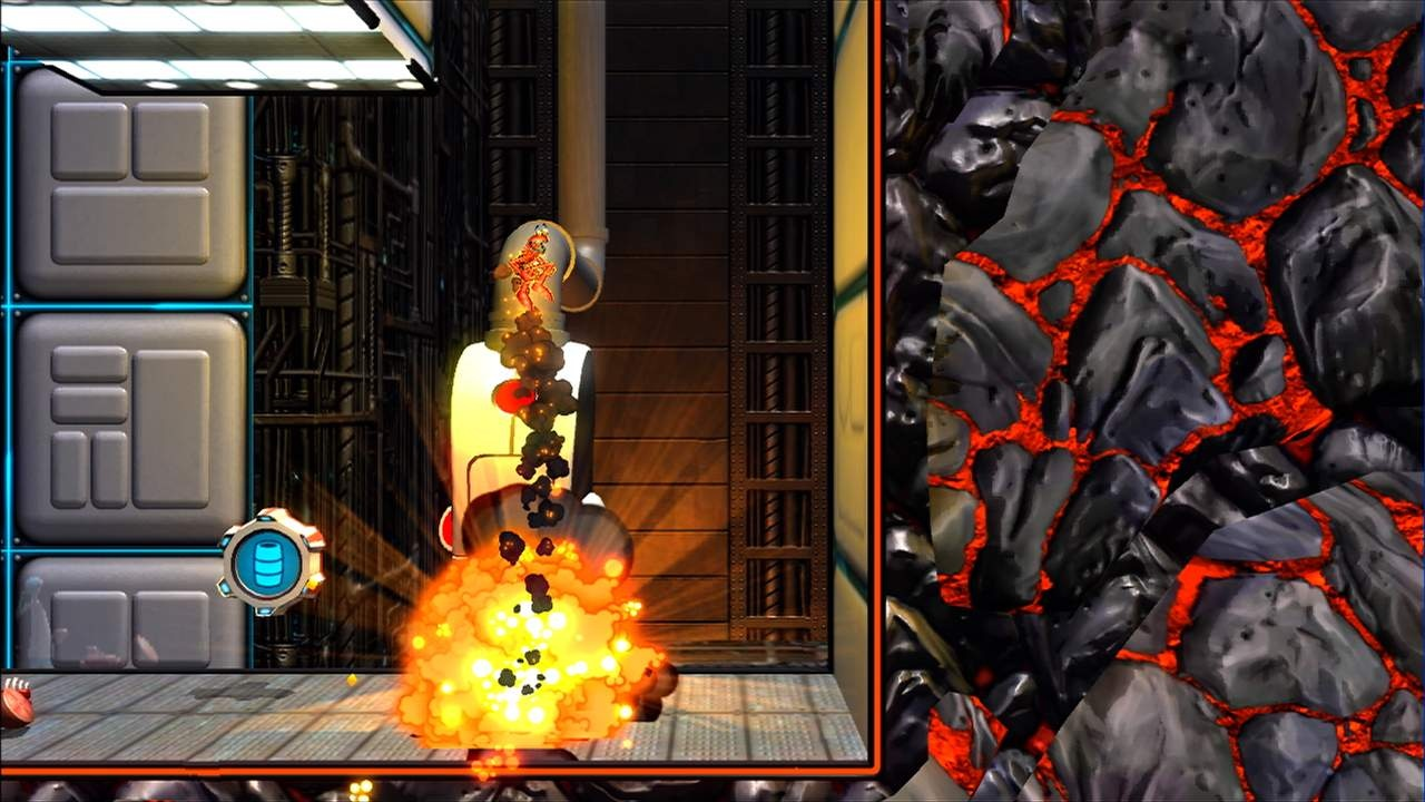 Detonate exploding barrels at just the right time and you can hurl 'Splosion Man into the stratosphere.