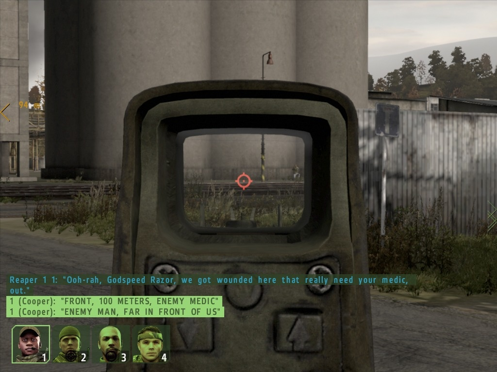 Can you see the insurgent in this photo? Combat in Arma II often takes place at a range of 100 meters or more.