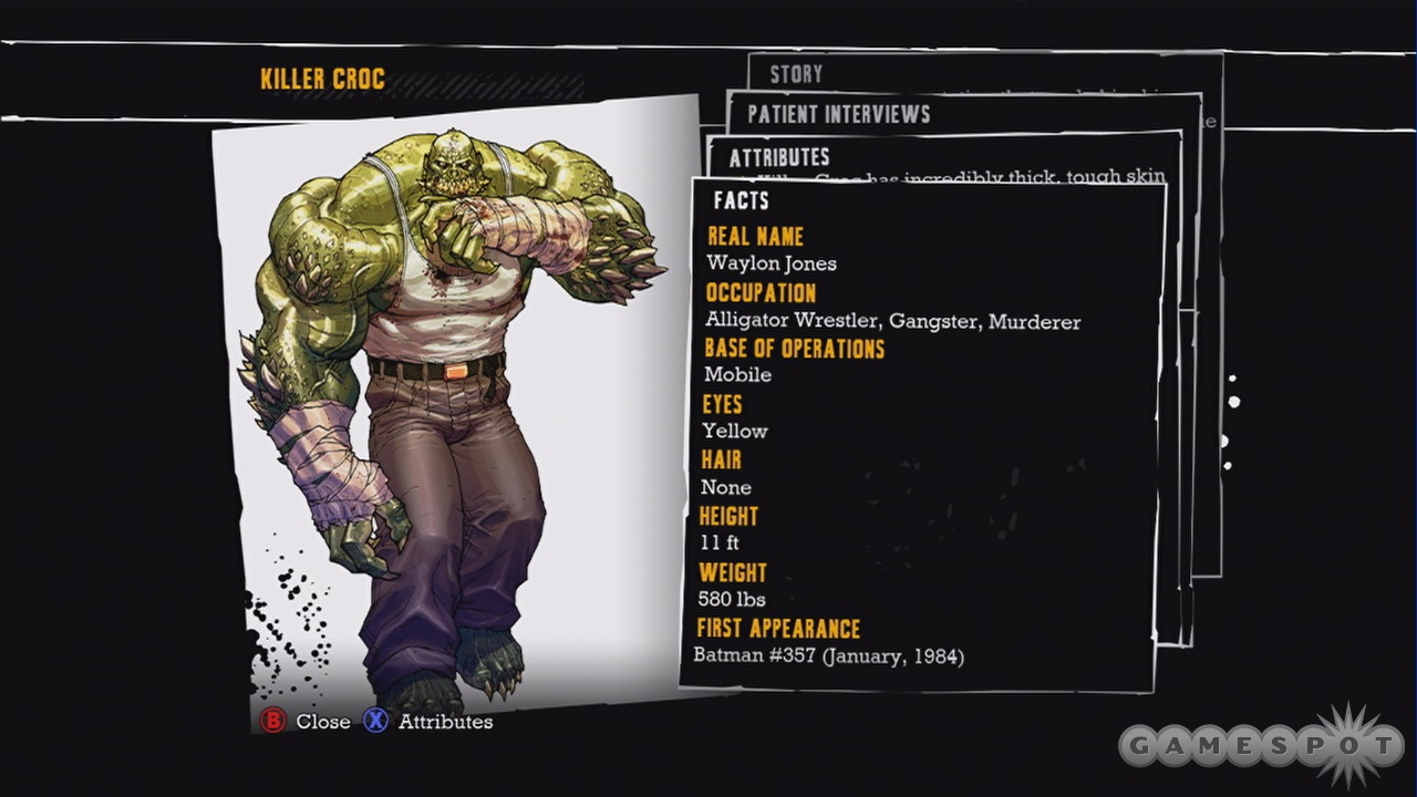 Over 50 characters from Batman's universe are detailed in unlockable bios.
