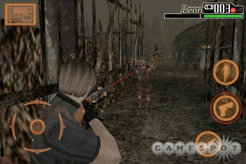 Leon Kennedy is packing heat in the iPhone version of Resident Evil 4.