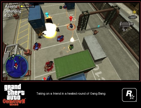 In objective-based Gang Bang multiplayer games, both players are accompanied by a number of gang members.