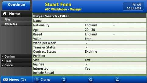 Searching for players on the transfer market is satisfying but time consuming.