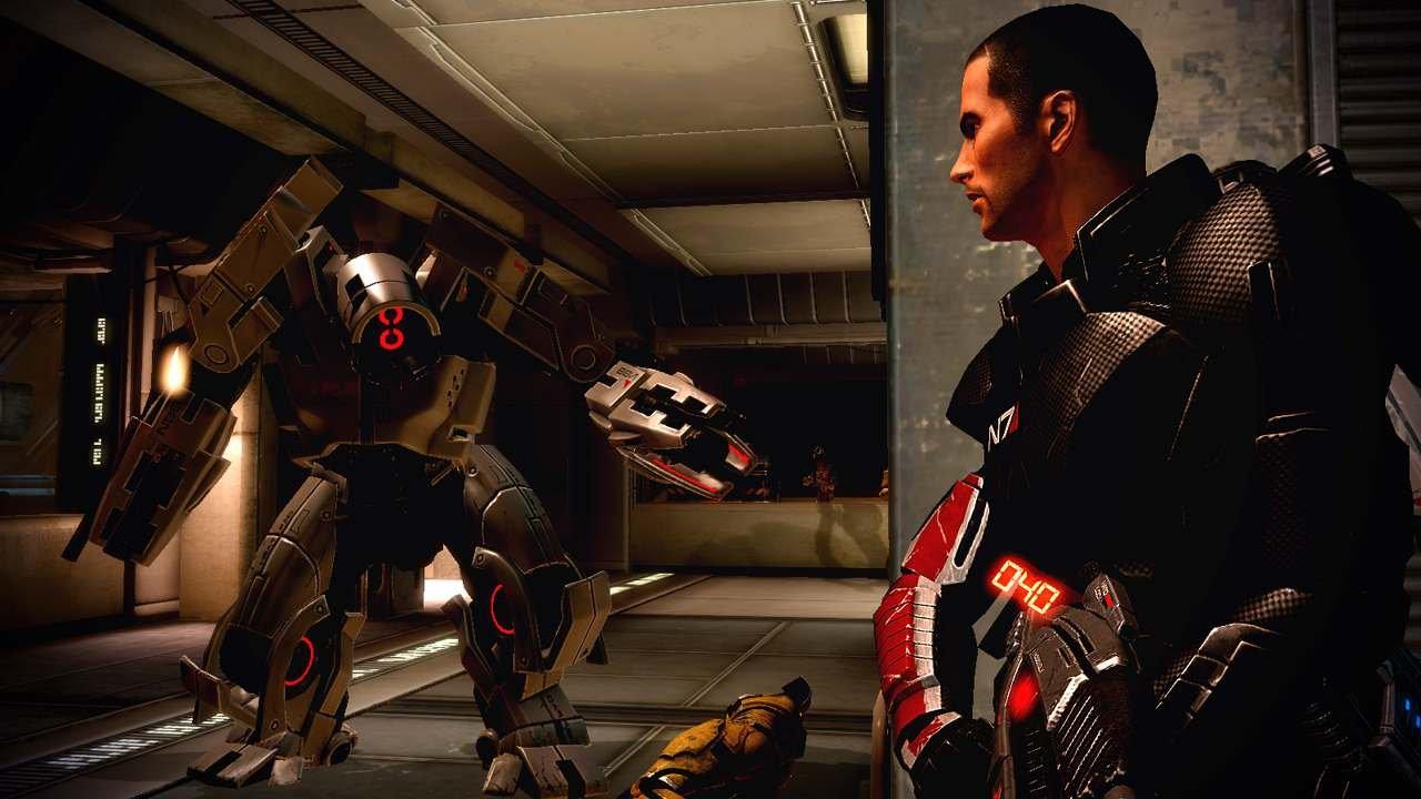 The YMIR mech might look menacing, but it has met its match in Shepard's new grenade launcher.