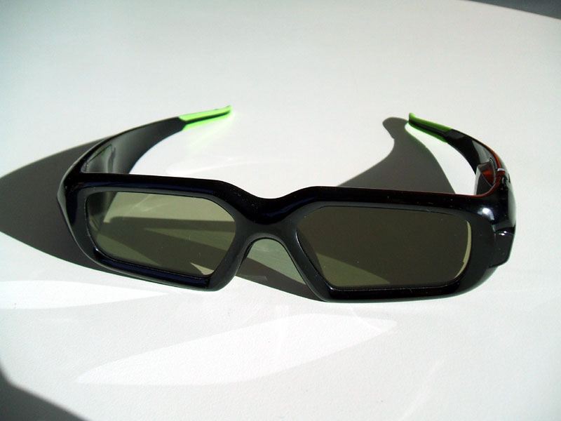 The wireless GeForce 3D Vision glasses look much better than 3D glasses we've seen in the past.