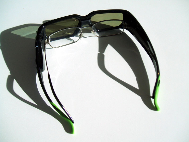 The GeForce 3D Vision glasses fit over prescription eyewear.