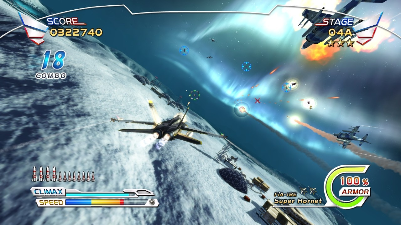 The northern lights are one of many impressive backdrops for the action in After Burner Climax.