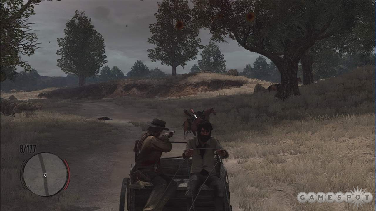 Shooting from mounts and wagons works every bit as well as shooting on foot.