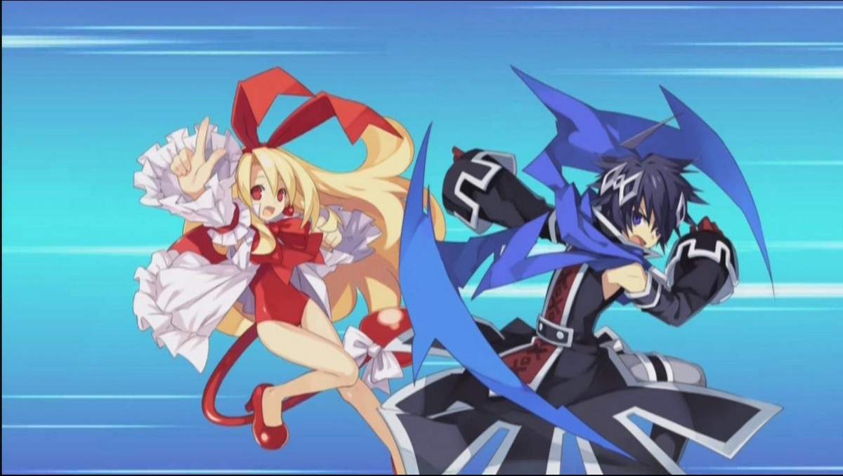 Flonne and Lucius get ready to cave in monster skulls. For justice and love!