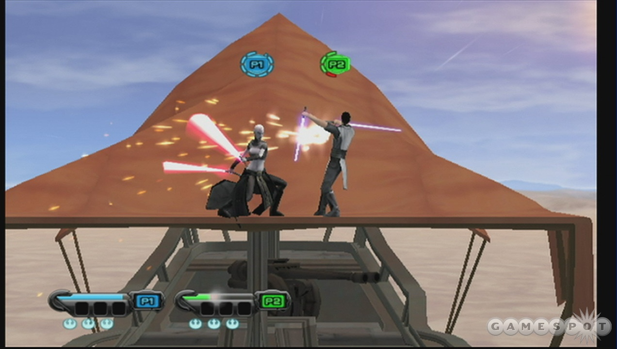 Tatooine plays host to dual suns and dual sabers.
