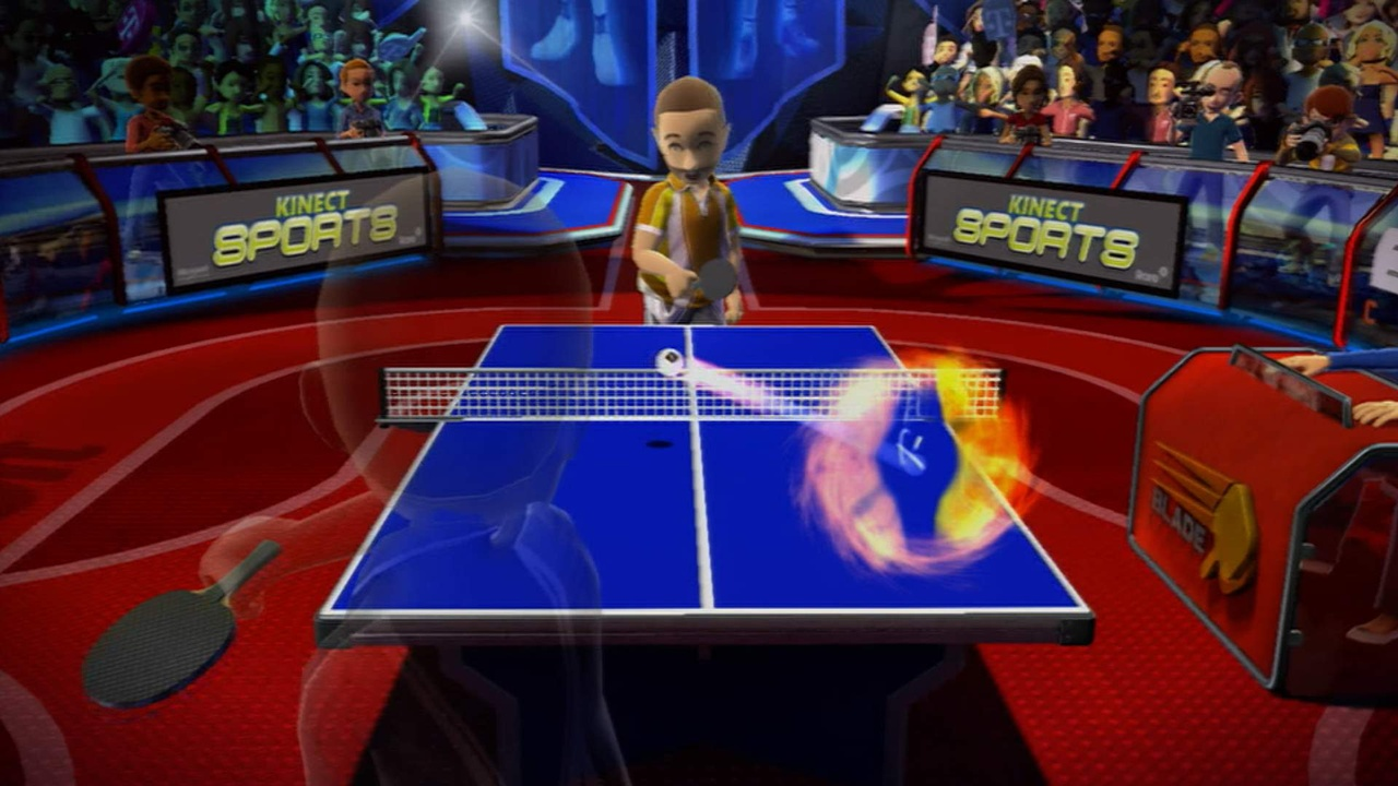 Exaggerated movements are required to put spin on the ball in table tennis.