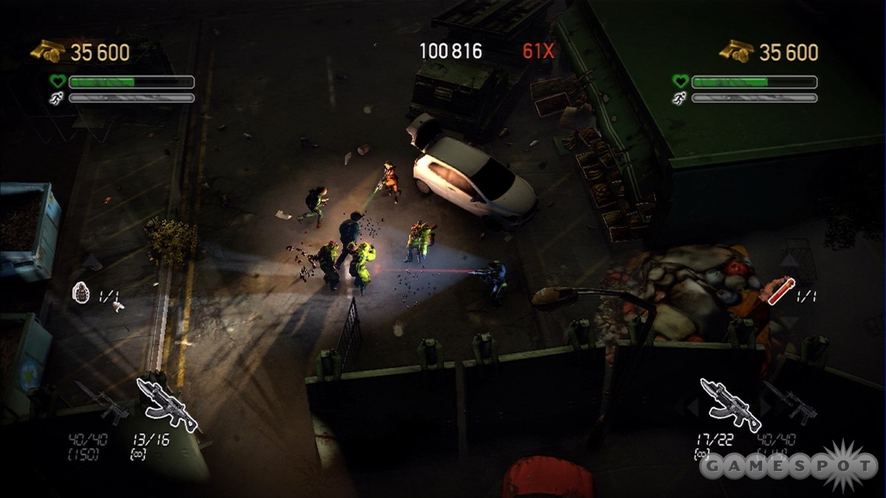 Two flashlights and two guns make the zombie apocalypse less lonely.