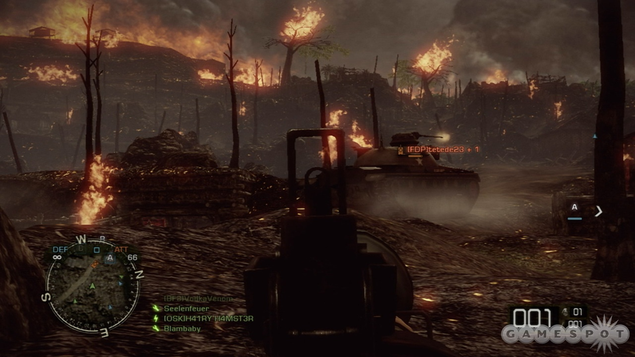 This Napalm-soaked battlefield is the perfect place to annihilate tanks.