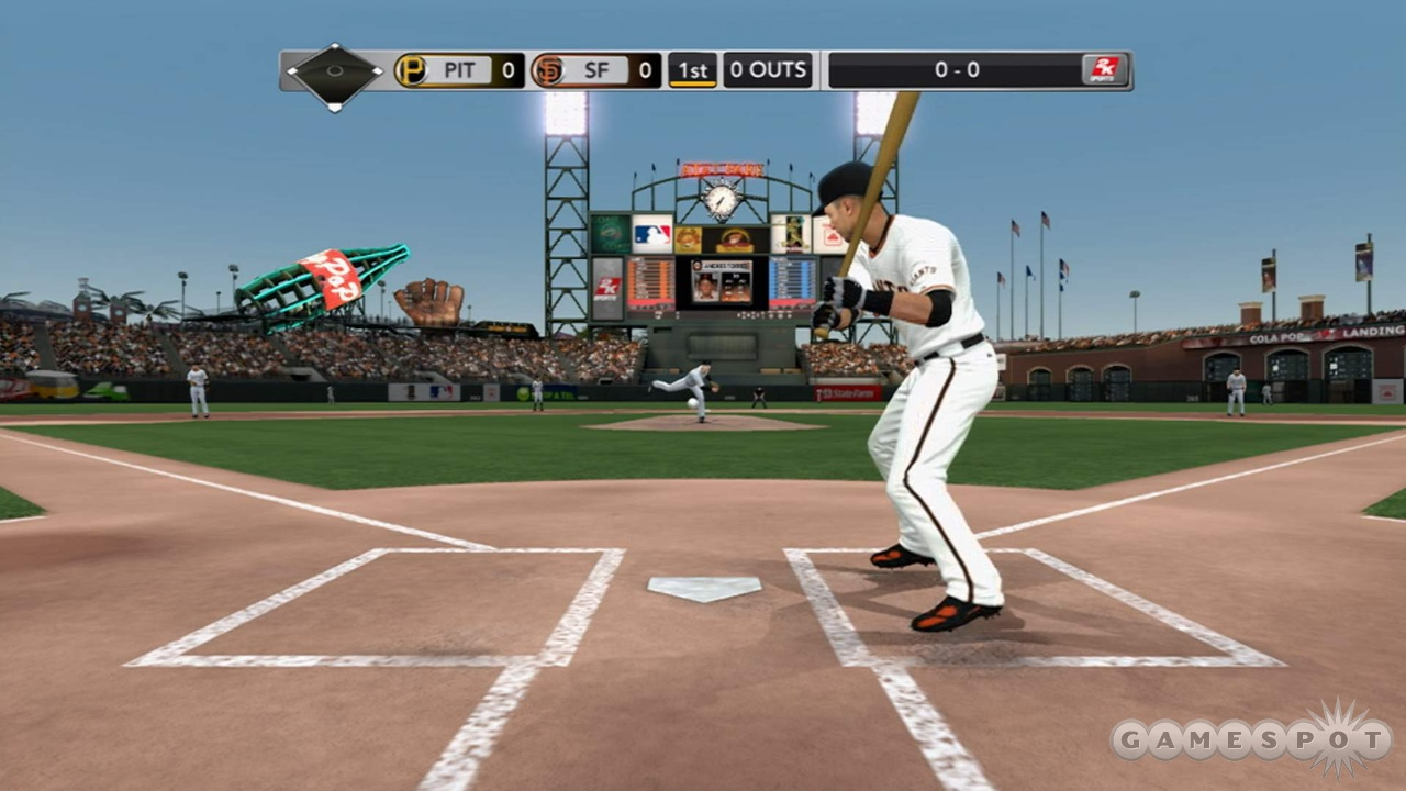 If you hit the ball into the giant soda bottle, it's 10 runs. If you hit it into the giant glove, it's 10 outs. Or not.