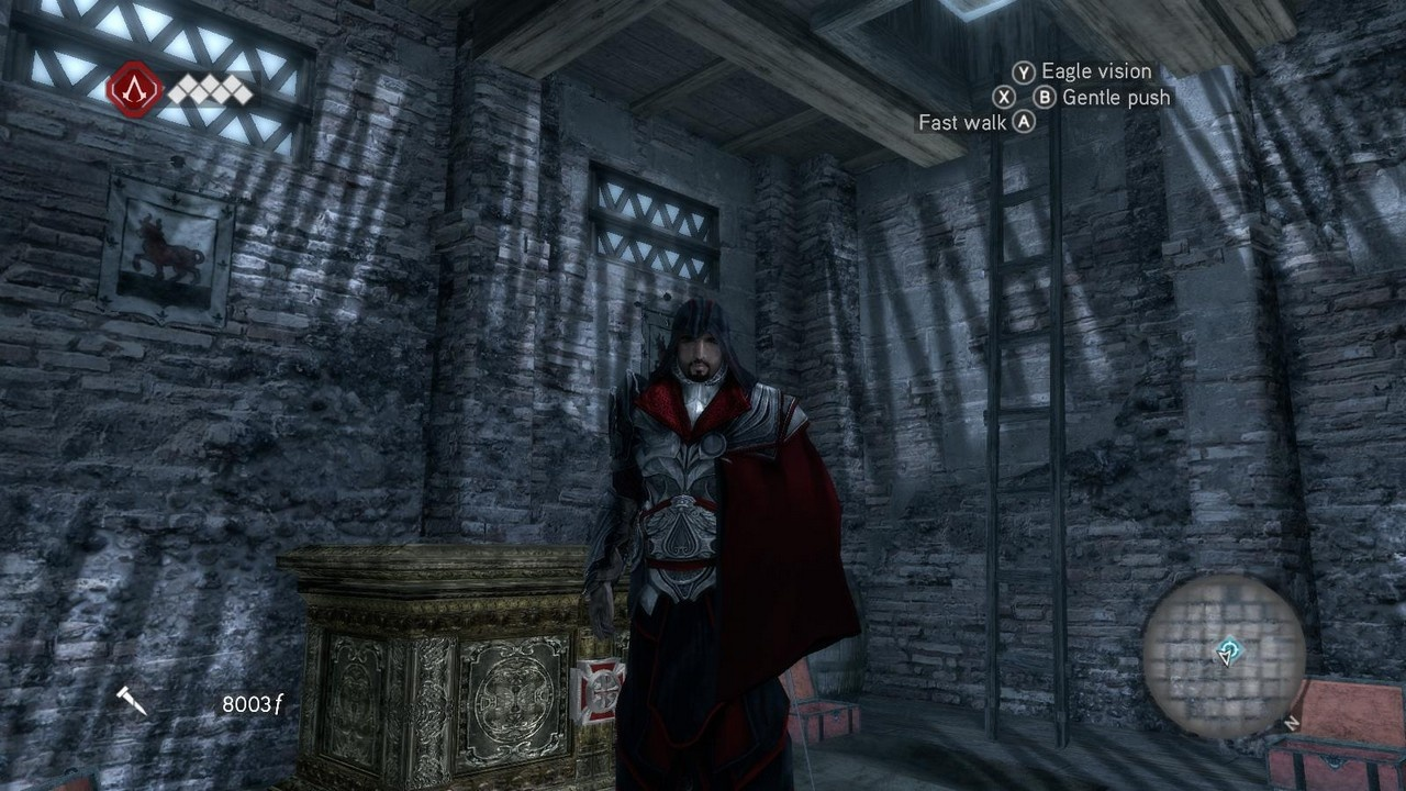 Ezio takes a moment to brood before exiting the lair.