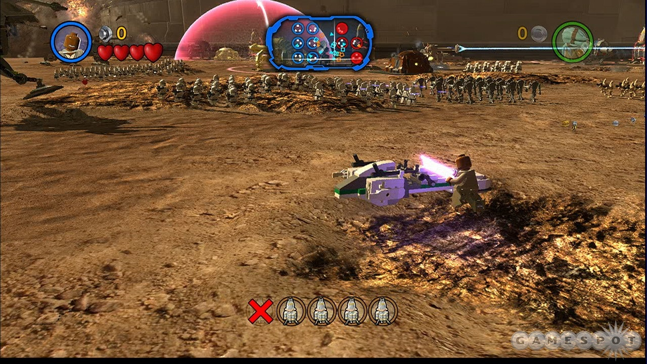 One Jedi and a speeder versus an army of robots. Hardly seems fair.