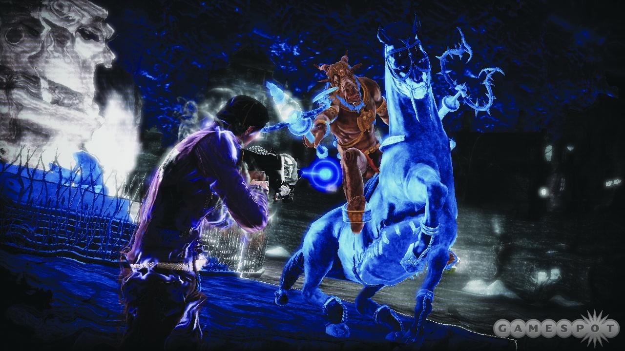 Garcia faces off against George in minotaur form using the teether machine gun.