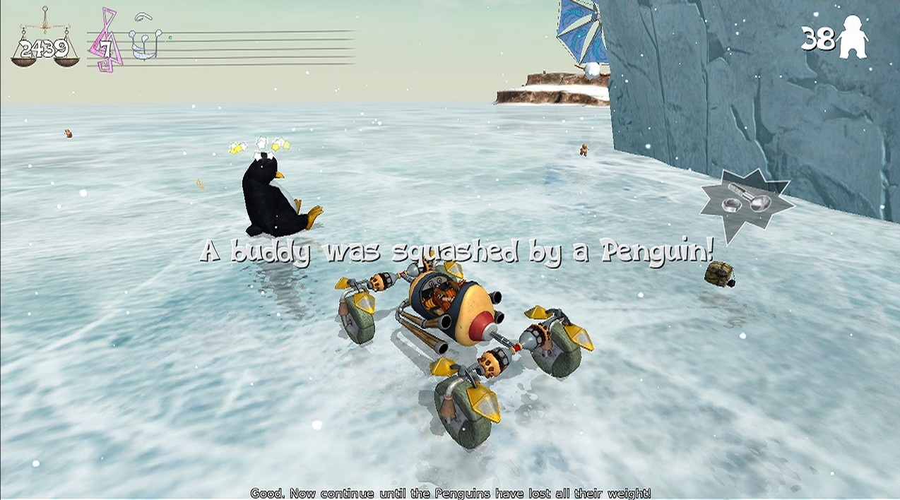 Oh, great. Yet another game in which you have to crash right into huge penguins.