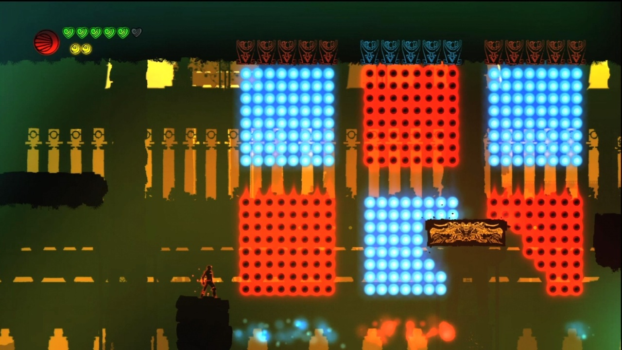 The color-switching mechanic introduces quick reflexes to the puzzling gameplay.
