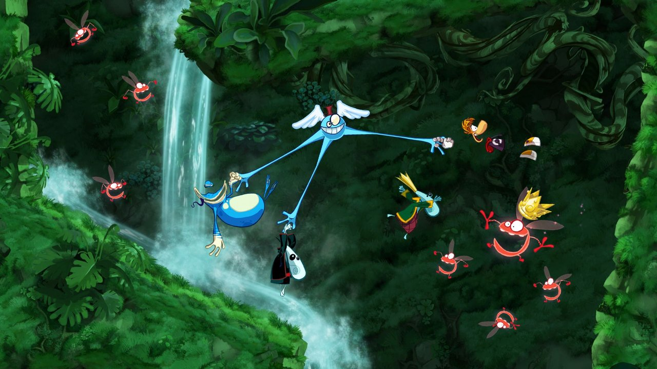 Many hands make light work of transporting Rayman and his chums.